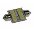 LED žárovka 12V s paticí sufit(36mm) bílá, 6LED/3SMD