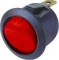 Spínač kolébkový kulatý červený s podsvícením