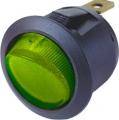 Spínač kolébkový kulatý zelený s podsvícením